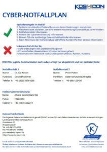 KOSMICON Cyber Defense Services - Cyber-Notfallplan-Generator (E-Learning / Training / Zertifizierung / Cyberversicherung)